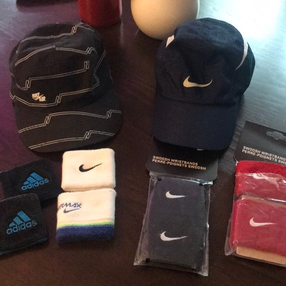 Nike Accessories - Bundle- 2 hats and sweat wrist bands.